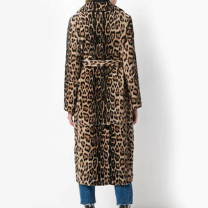 Womens Faux Fur Leopard Coat with Waist Tie