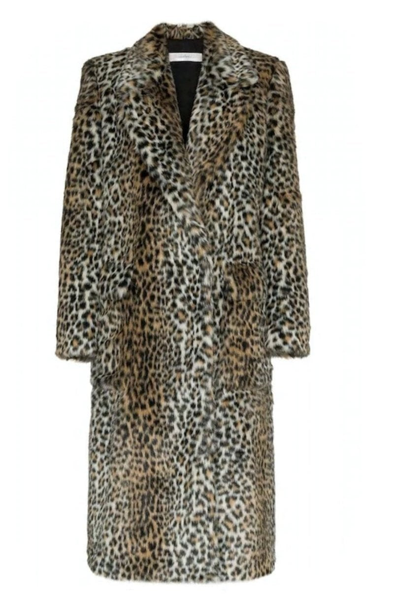 Womens Faux Fur Leopard Long Coat with Pockets