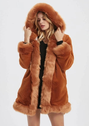 Womens Hooded Faux Fur Collar Coat
