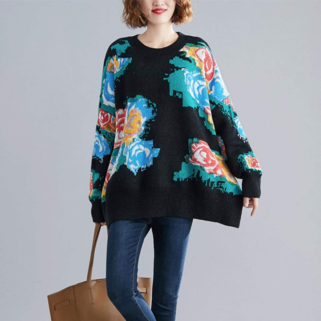 Womens Round Neck Floral Print Sweater