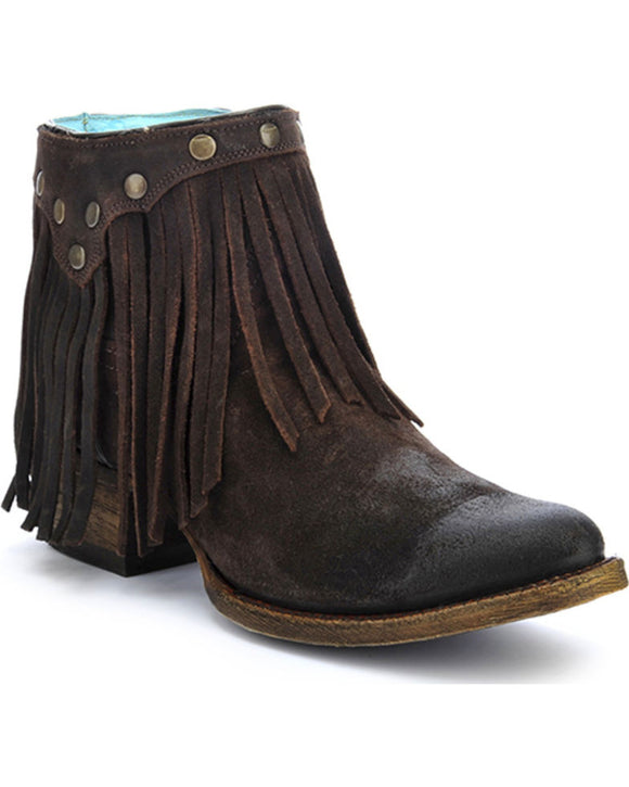 Corral Brown Fringe Ankle Boot