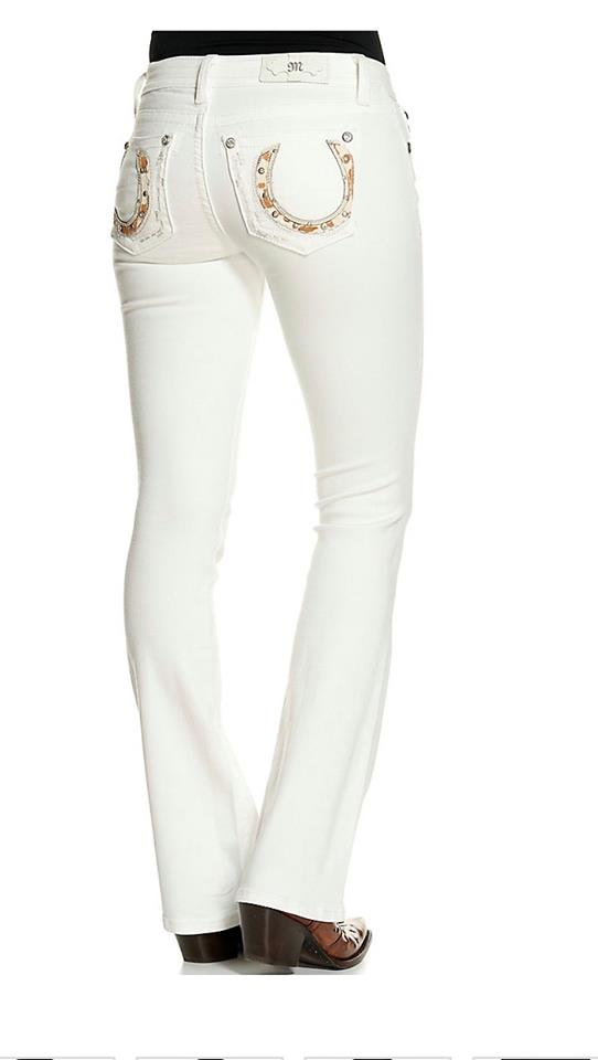 Miss Me Women's White with Cowhide Horseshoes Boot Cut Jeans
