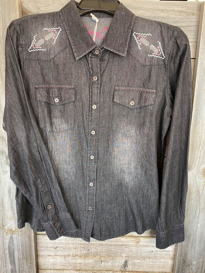 Resistol Sherry Cervi Dark Denim Embroidered Button Up Shirt
