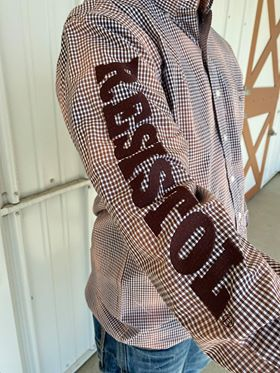 Resistol Brown Plaid with Embroidered Logo Button Shirt