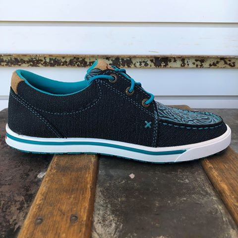 Twisted X Women's Dark Teal Floral Embossed Kicks