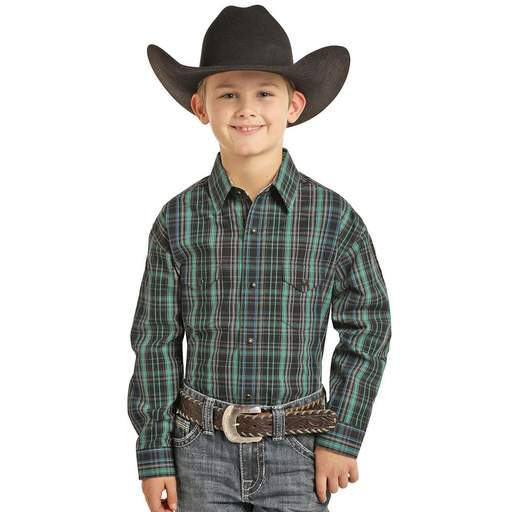 Panhandle Slim Boy's Green & Black Plaid Long Sleeve Snap Shirt