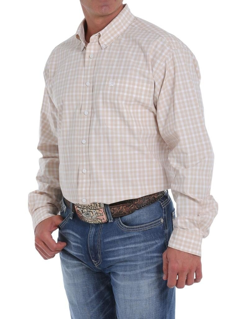 Cinch Men's Khaki Plaid Long Sleeve Button Up Shirt
