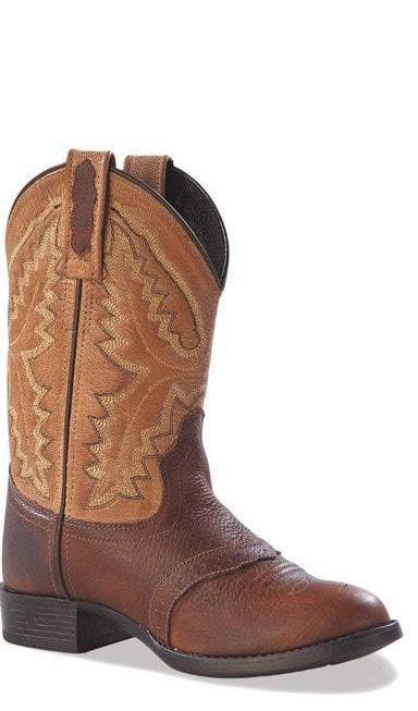 Kid's Old West Chocolate Round Toe Boot