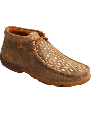 Twisted X Women's Tan Diamond Embroidered Driving Mocs