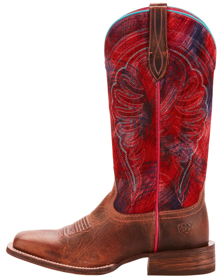 Ariat Women's Circuit Shiloh Paint Brush Pink Performance Cowgirl Boots - Square Toe
