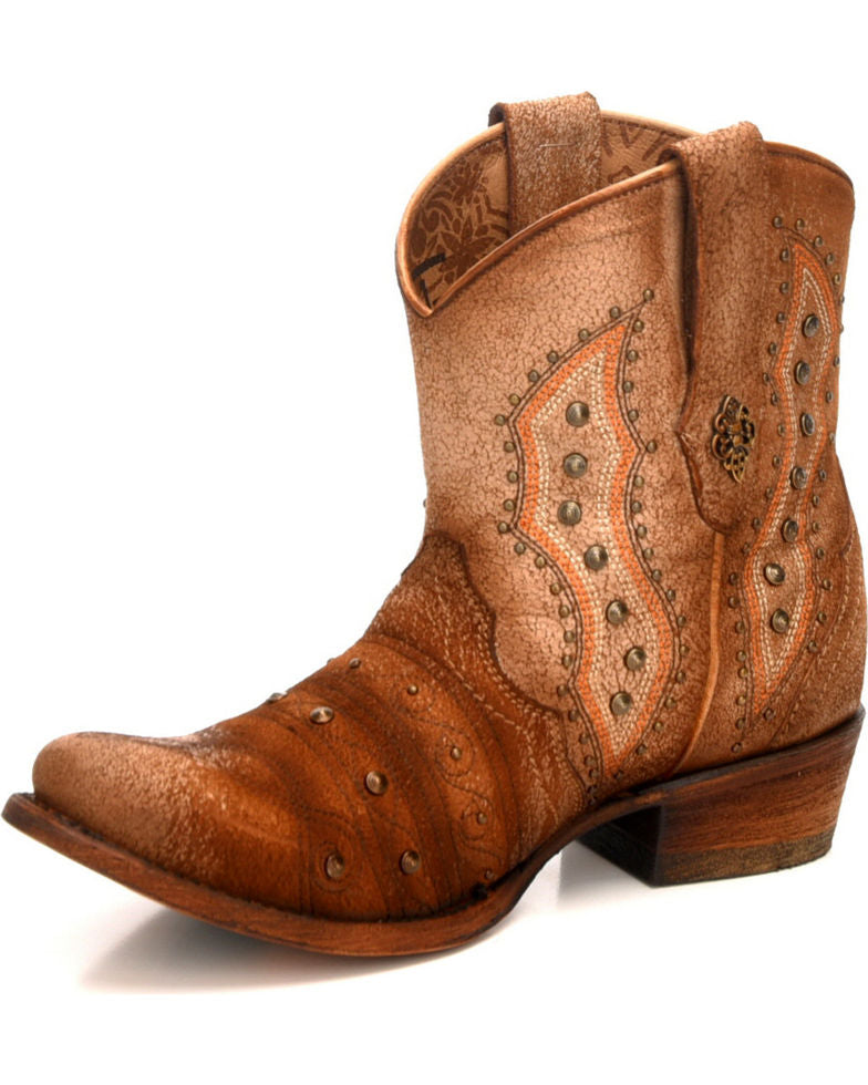 Corral Women's Bone Lamb Embroidery & Studs Short Round Toe Western Boots