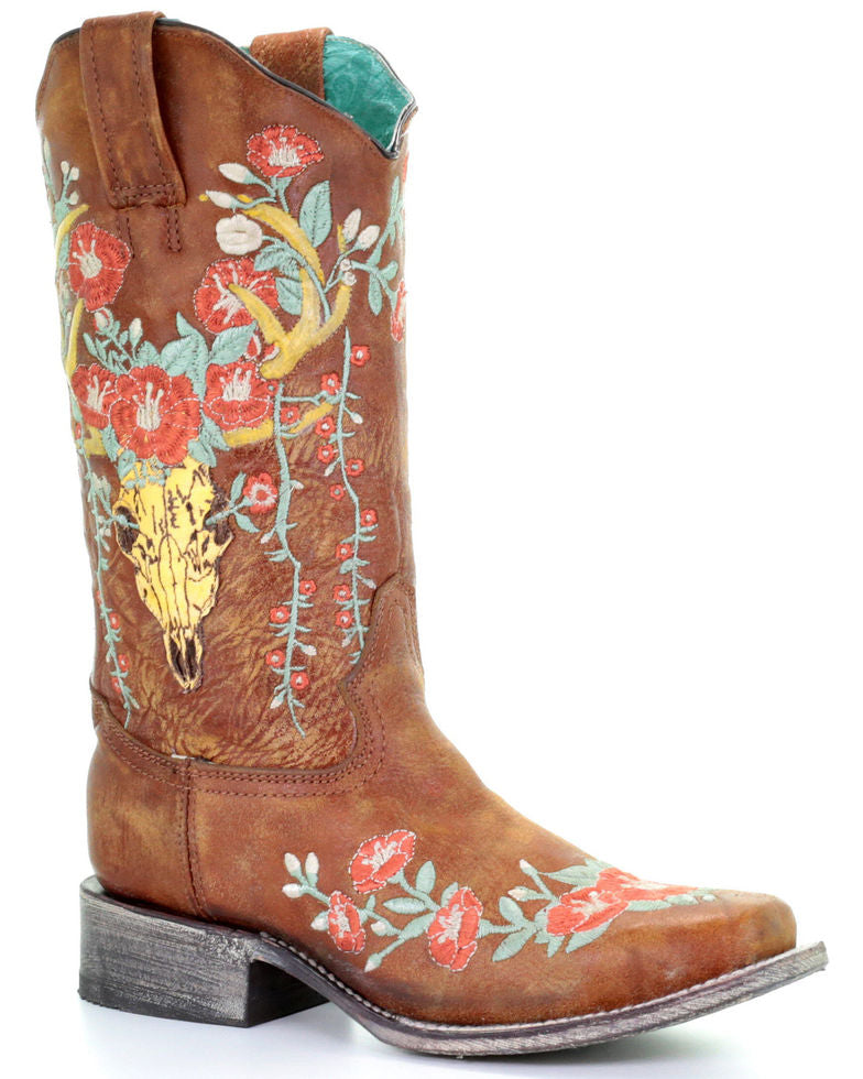 Corral Tan Deer Skull Overlay & Floral Embroidery Square Toe Boot
