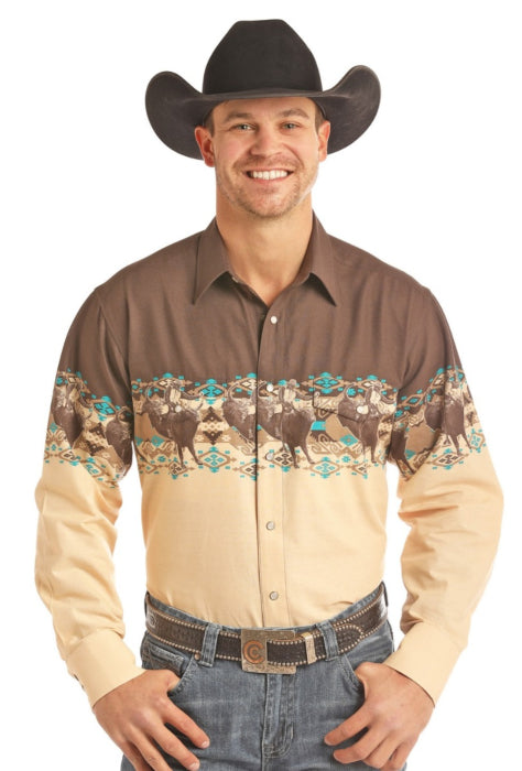 Panhandle Long Sleeve Scenic Border Snap Shirt