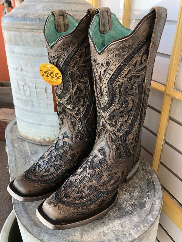c6a8f443b5c Corral Ladies Brown/ Grey Inlay & Embroidery & Studs Boots Square Toe Boots
