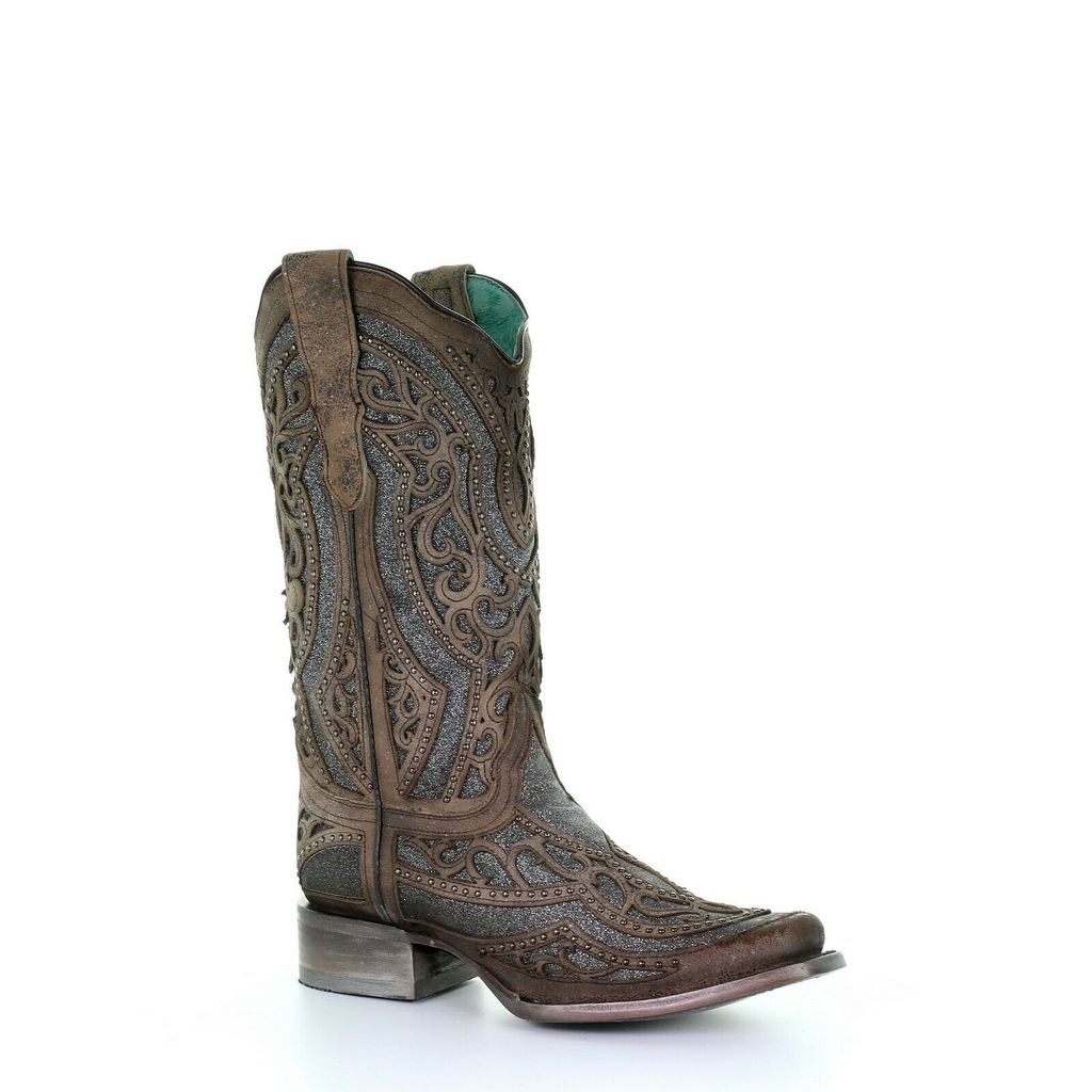 Corral Ladies Brown/ Grey Inlay & Embroidery & Studs Boots Square Toe Boots