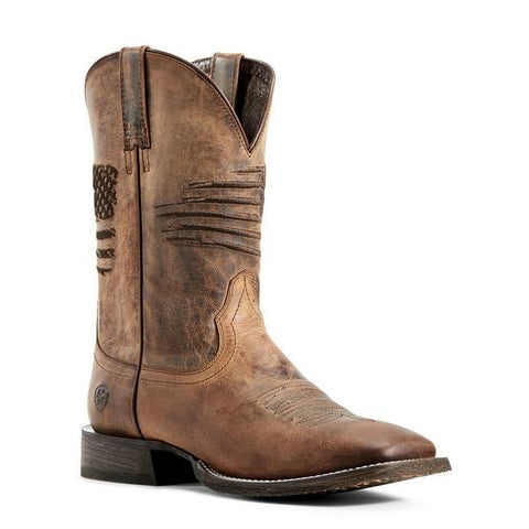 Ariat Men's Circuit Patriot Weathered Tan Square Toe Boots