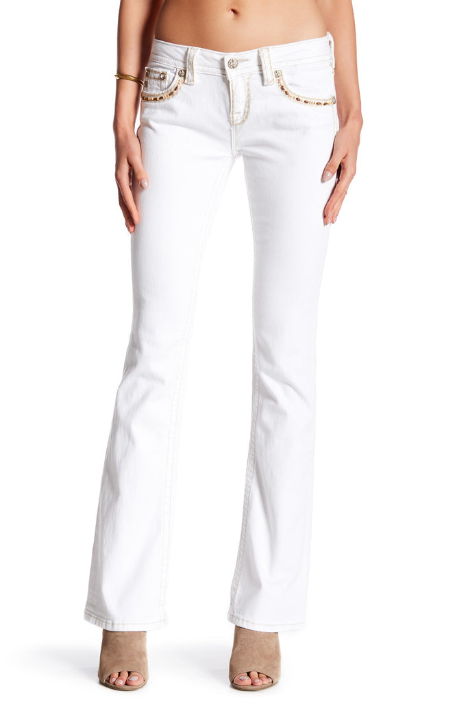 Miss Me Women's White Beaded Flap Pocket Boot Cut Jean