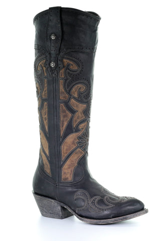 Corral Black/Tan Laser Cutout & Embroidery Boots
