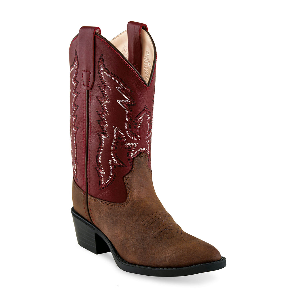 Kid's Old West Brown/Red J Toe Boot
