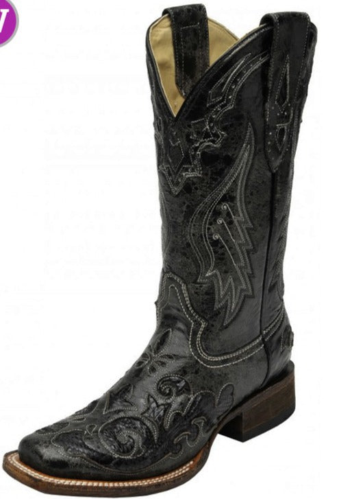 Women's Corral Black Snake Inlay Boot