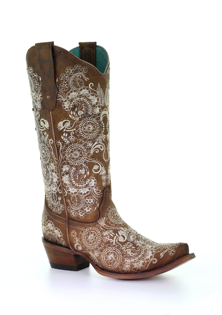 Corral Women's Brown Studs & Embroidery & Crystals Snip Toe Boots