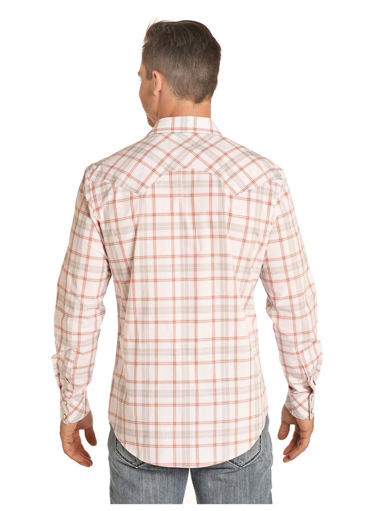 Rock & Roll Cowboy Orange & Grey Plaid Snap Long Sleeve Shirt