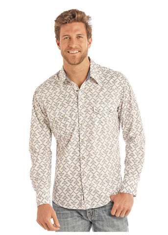 Rock & Roll Cowboy Crinkle Washed Geo Print Long Sleeve Snap