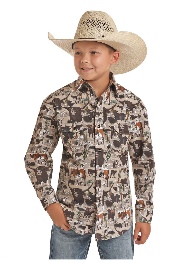 Rock & Roll Dale Brisby Boy's Steer Print Snap Shirt
