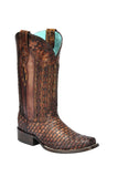 Corral Lizard Braided Shaft Square Toe Boot
