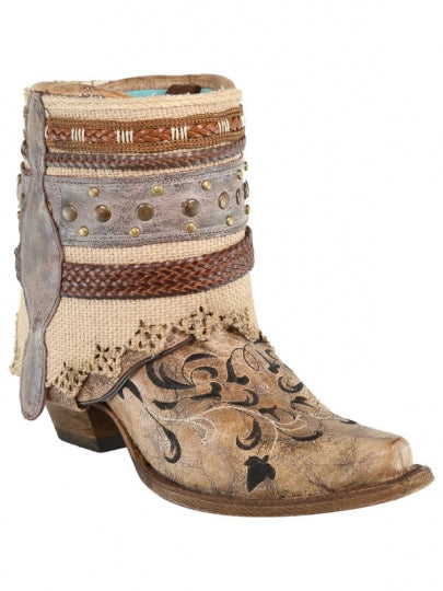 Corral Cognac Flipped Shaft & Straps Bootie