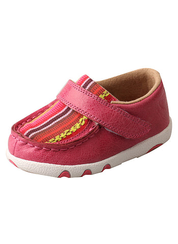 Twisted X Infant/Toddler Driving Moccasins – Pink/Multi Canvas