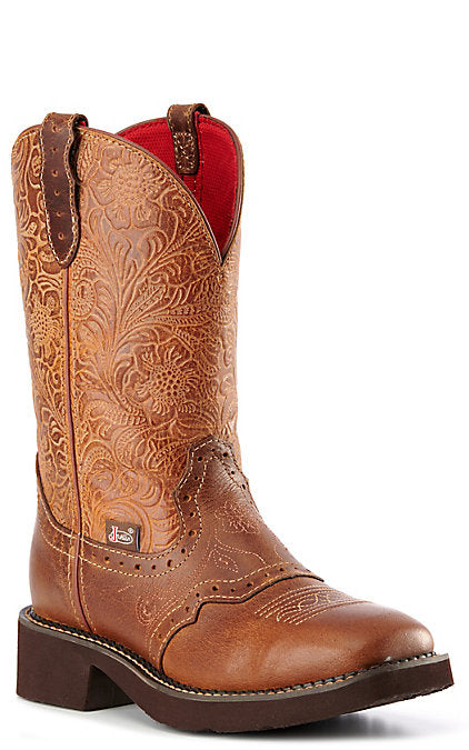 Justin Women's Starlina Tan Western Square Toe Boots
