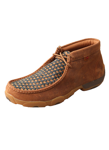 Twisted X Men's Driving Moccasins – Oiled Saddle/Blue