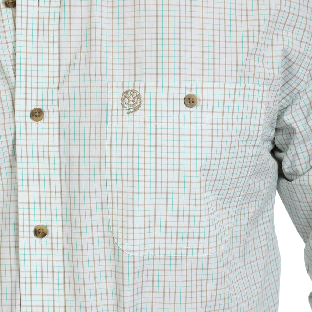 Wrangler George Strait Performance Green & Tan Plaid Button Up Shirt