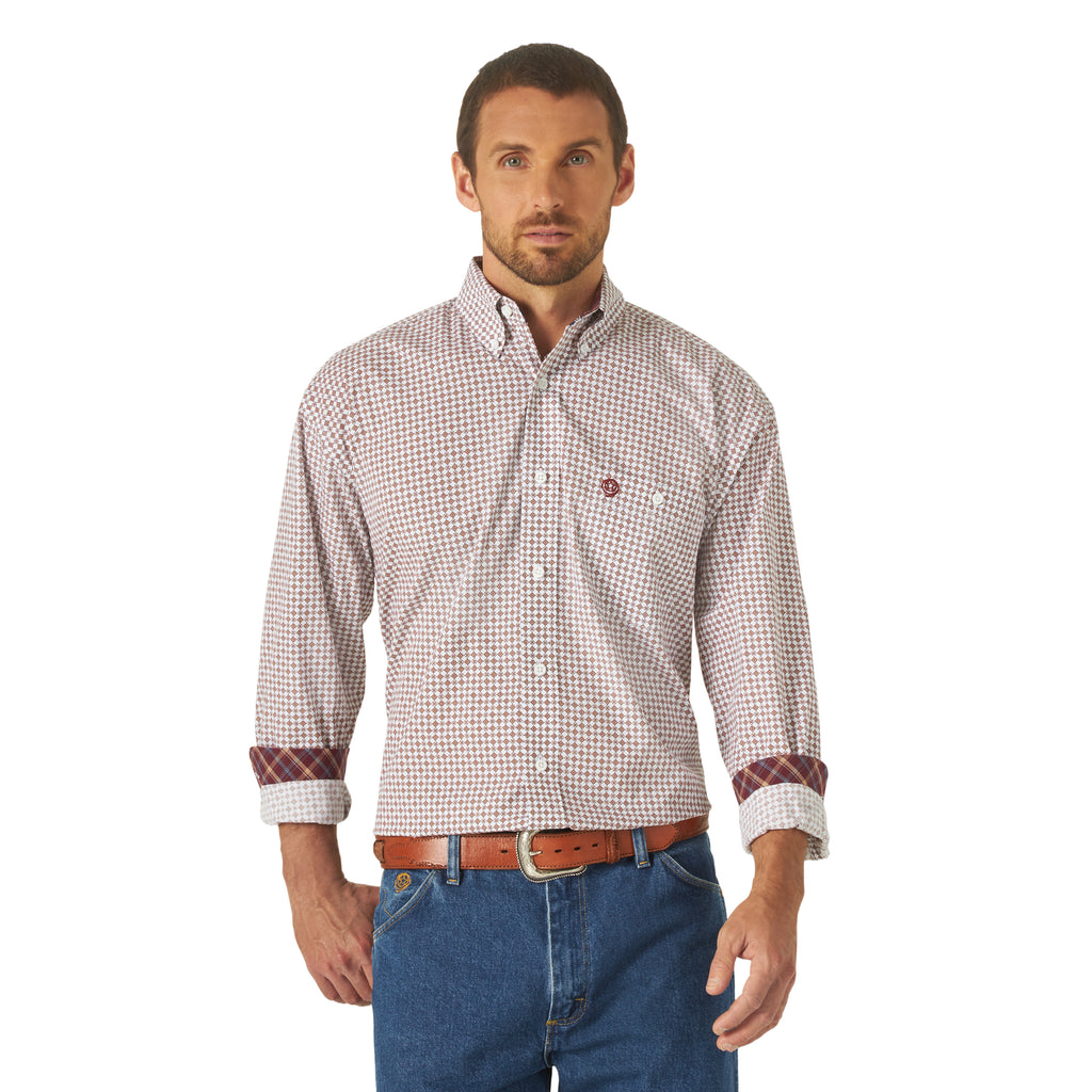Wrangler Men's George Strait Burgundy Print Long Sleeve Button Up Shirt