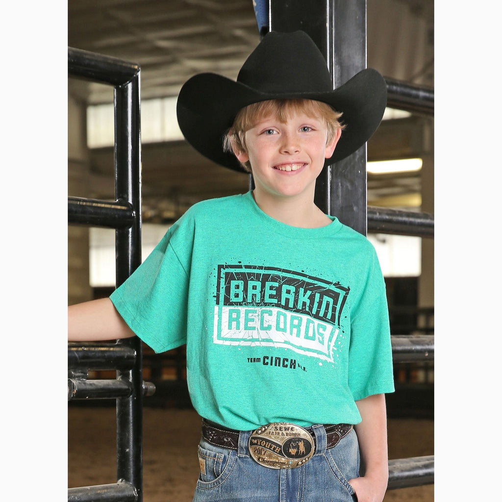Cinch Boy's Teal Breakin' Records Tee