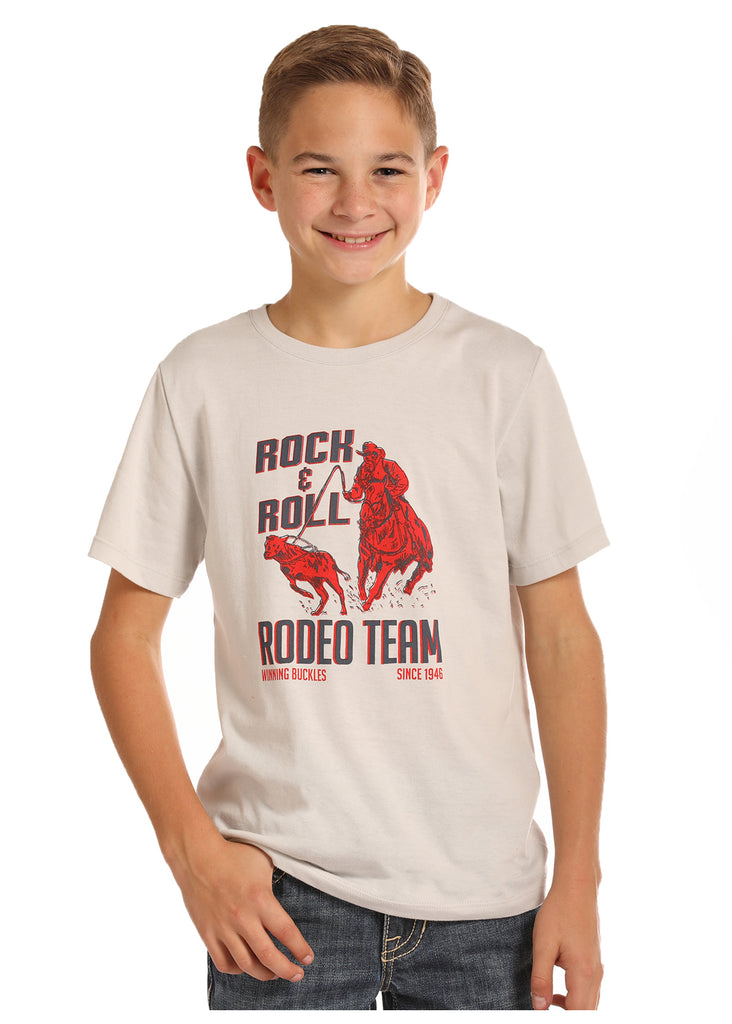 Rock & Roll Cowboy Boy's Rodeo Team Logo Tee