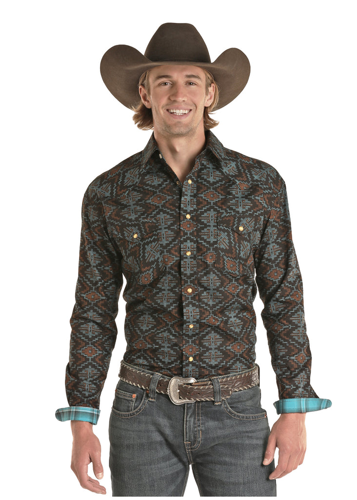 Panhandle Slim Rough Stock Aztec Print Snap Shirt
