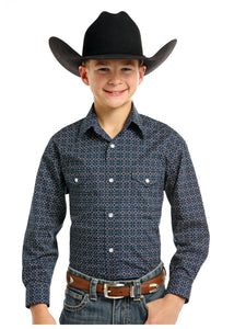 Panhandle Rough Stock Boy's Navy Snap with Brown Print Western Shirt
