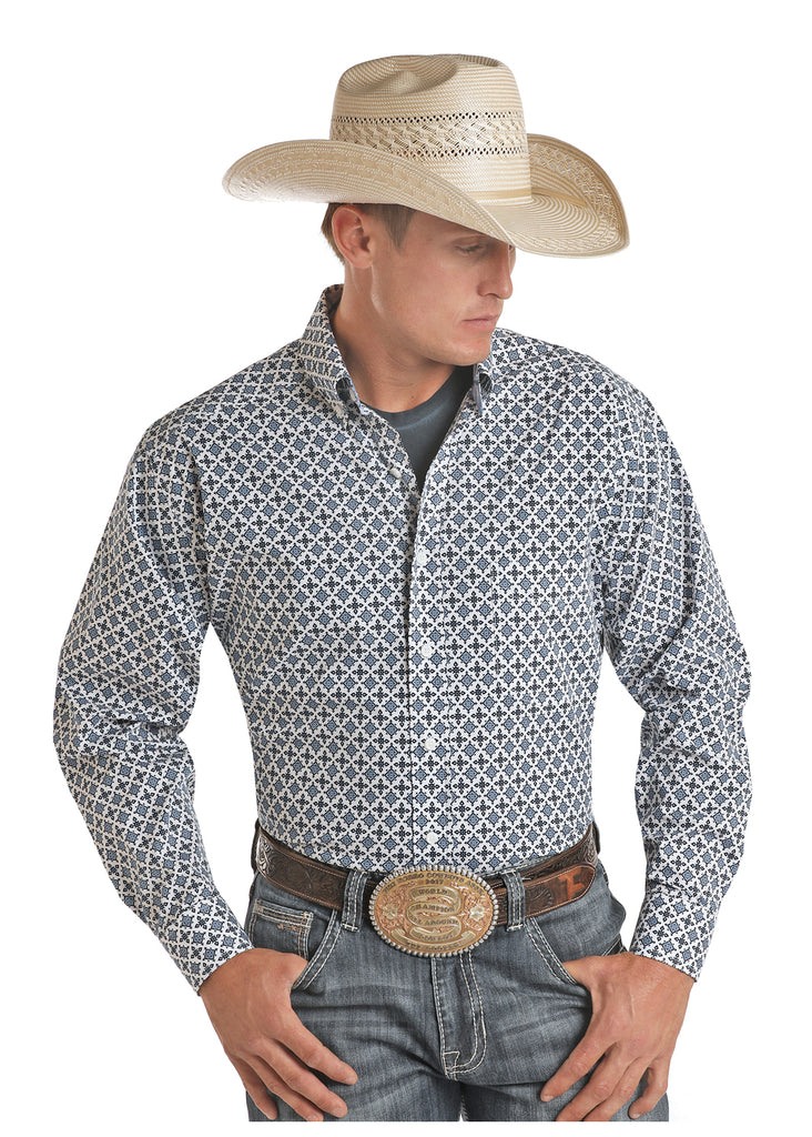 Panhandle Tuff Cooper Blue Print Long Sleeve Button Down Shirt
