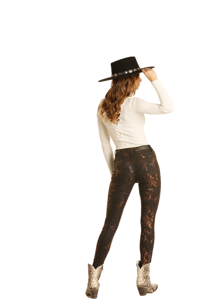 Rock & Roll High Rise Snake Print Skinny Jeans
