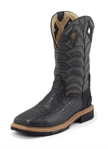 Justin Men's Derrickman Waterproof Charcoal Croc Print Leather Workboots