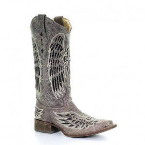 Corral Brown-Black Wing & Cross Square Toe Boots