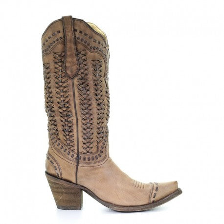 Corral Sand Braided Shaft Boot