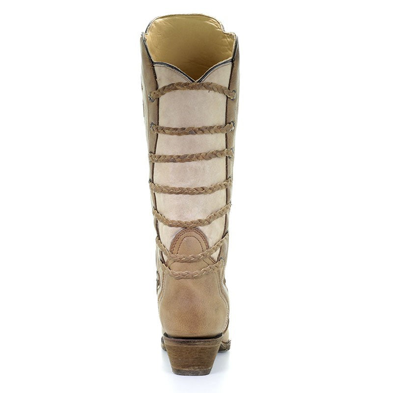 Corral Brown-Bone Inlay Back Strap Boots