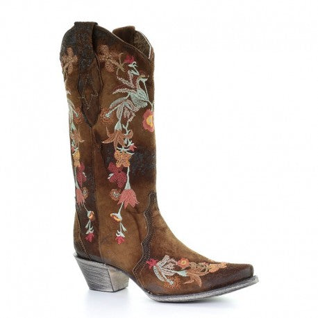Corral Chocolate Lamb Floral Embroidery Boots