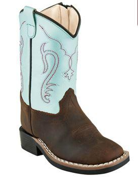 Toddler Old West Baby Blue/Dark Brown Square Toe Boots