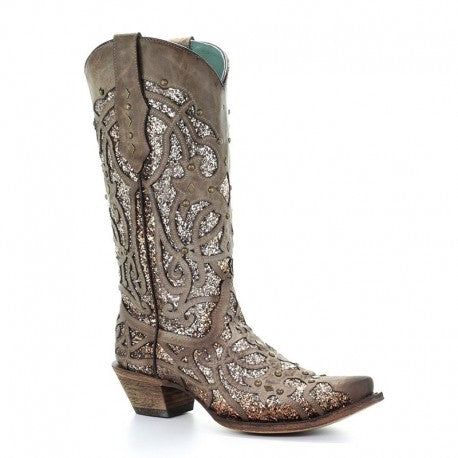 Corral Orix Glitter Inlay & Studded Snip Toe Boots
