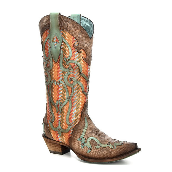 Corral Tan & Orange Overlay & Embroidery Festival Boot