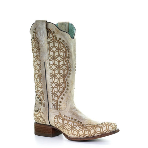 Corral Orix Studs & Embroidery Square Toe Boot
